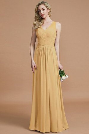 Natural Waist Floor Length A-Line V-Neck Bridesmaid Dress - 17
