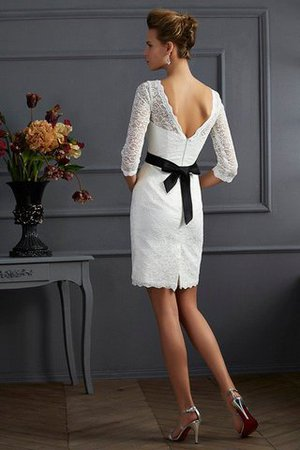 Zipper Up Short Natural Waist 3/4 Length Sleeves Scoop Mother Of The Bride Dress - 2