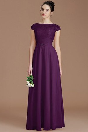 Floor Length Lace Chiffon Natural Waist Zipper Up Bridesmaid Dress - 18