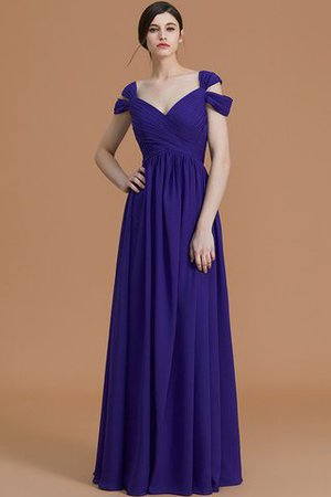 Natural Waist A-Line Ruched Floor Length Bridesmaid Dress - 4