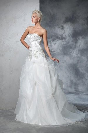 Lace-up Tulle Long Chapel Train Strapless Wedding Dress - 6