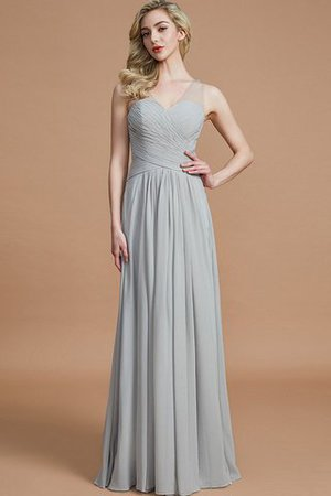 Natural Waist Floor Length A-Line V-Neck Bridesmaid Dress - 3