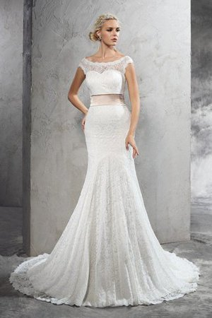 Lace Court Train Sashes Sheath Sleeveless Wedding Dress - 1