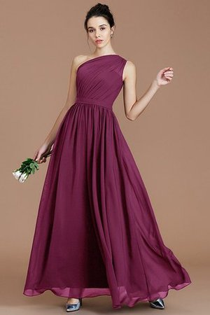 Floor Length Natural Waist Chiffon Ruched One Shoulder Bridesmaid Dress - 9