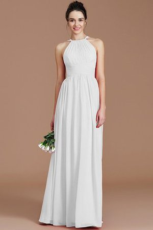 Ruched Floor Length Chiffon Natural Waist Halter Bridesmaid Dress - 31