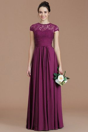 Chiffon Floor Length A-Line Jewel Short Sleeves Bridesmaid Dress - 11