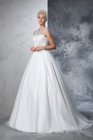 Empire Waist Ball Gown Long Sleeveless Lace Wedding Dress - 5