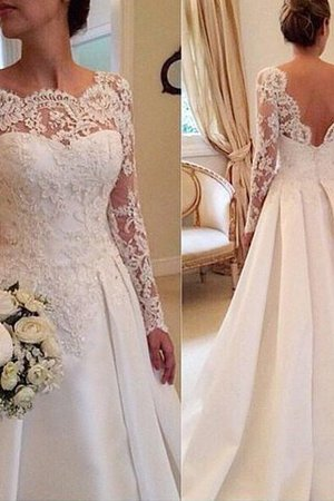 Ball Gown Natural Waist Long Sleeves Court Train Lace Wedding Dress - 1