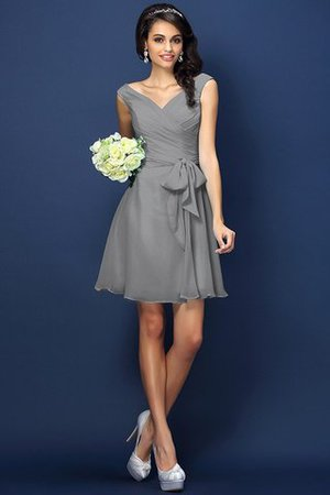 Zipper Up A-Line V-Neck Short Bridesmaid Dress - 27