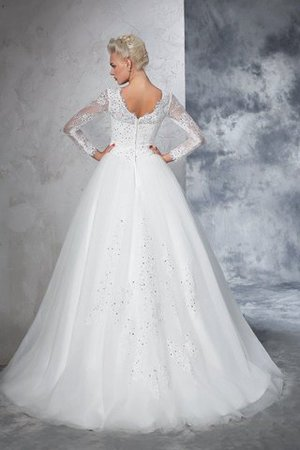 Sweep Train Long Zipper Up Ball Gown Long Sleeves Wedding Dress - 2