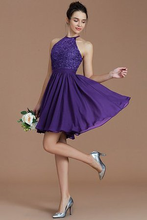 A-Line Short Halter Natural Waist Bridesmaid Dress - 29