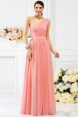 Pleated Long A-Line One Shoulder Bridesmaid Dress - 28