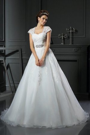 Appliques Zipper Up Long Ball Gown Square Wedding Dress - 1