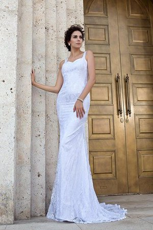 Zipper Up Court Train Sheath Sleeveless Long Wedding Dress - 3