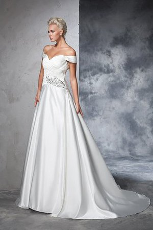 Long Taffeta Ball Gown Natural Waist Ruched Wedding Dress - 7