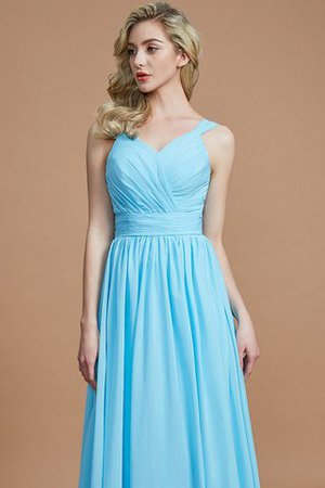 Sleeveless Natural Waist A-Line V-Neck Bridesmaid Dress - 2