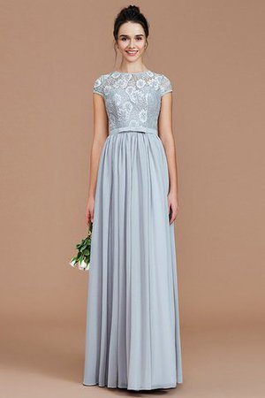 A-Line Jewel Lace Short Sleeves Bridesmaid Dress - 7