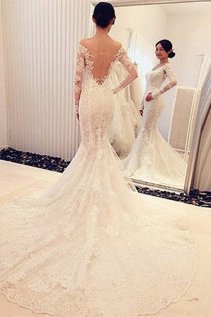 Sweep Train Long Sleeves Off The Shoulder Natural Waist Mermaid Wedding Dress - 2