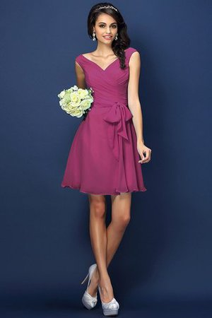 Zipper Up A-Line V-Neck Short Bridesmaid Dress - 5
