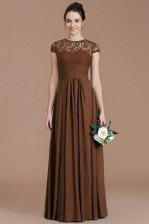 Chiffon Floor Length A-Line Jewel Short Sleeves Bridesmaid Dress - 9