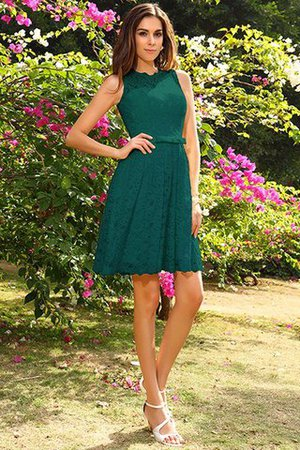 Knee Length Natural Waist Scoop Lace Elastic Woven Satin Bridesmaid Dress - 9