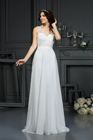 Long Sleeveless Princess Sweep Train Chiffon Wedding Dress - 1