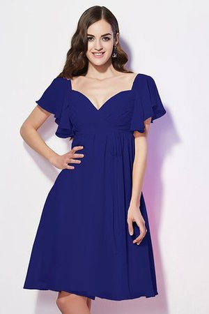 Ruffles Knee Length Short Sleeves Sweetheart Bridesmaid Dress - 24