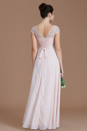 Floor Length Lace Chiffon Natural Waist Zipper Up Bridesmaid Dress - 35