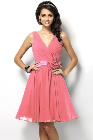 Draped A-Line V-Neck Natural Waist Bridesmaid Dress - 28