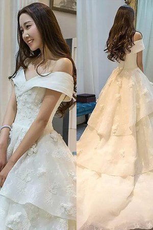 Tulle Court Train Ball Gown Off The Shoulder Sleeveless Wedding Dress - 1