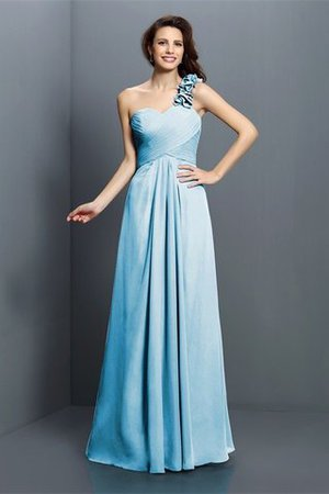 Zipper Up One Shoulder Chiffon A-Line Bridesmaid Dress - 3