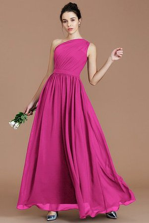 Floor Length Natural Waist Chiffon Ruched One Shoulder Bridesmaid Dress - 15