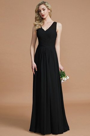 Natural Waist Floor Length A-Line V-Neck Bridesmaid Dress - 7