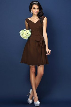 Zipper Up A-Line V-Neck Short Bridesmaid Dress - 7
