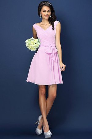 Zipper Up A-Line V-Neck Short Bridesmaid Dress - 22