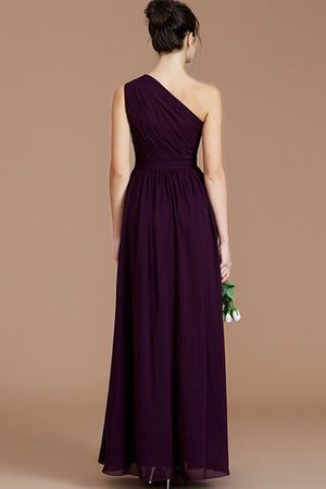 Floor Length Natural Waist Chiffon Ruched One Shoulder Bridesmaid Dress - 34