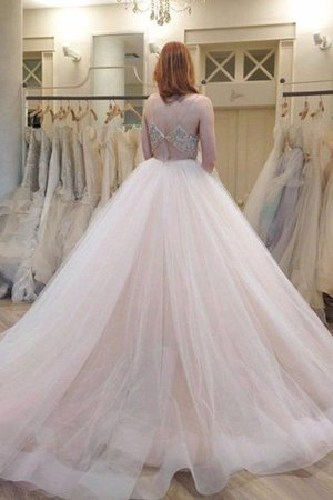 Tulle Natural Waist Court Train Spaghetti Straps Ball Gown Wedding Dress - 2