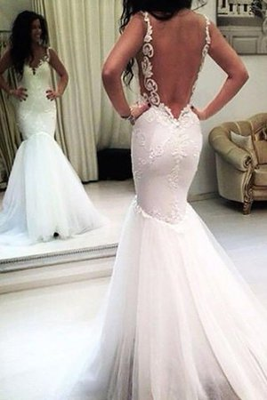 Spaghetti Straps Sleeveless Natural Waist Appliques Tulle Wedding Dress - 2