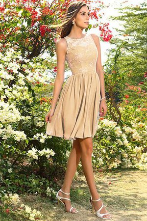 A-Line Natural Waist Sleeveless Chiffon Short Bridesmaid Dress - 12