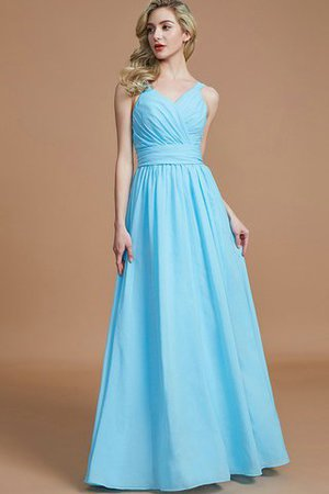 Sleeveless Natural Waist A-Line V-Neck Bridesmaid Dress - 4