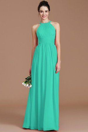Ruched Floor Length Chiffon Natural Waist Halter Bridesmaid Dress - 16