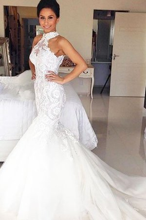 Tulle Court Train Mermaid Halter Natural Waist Wedding Dress - 1
