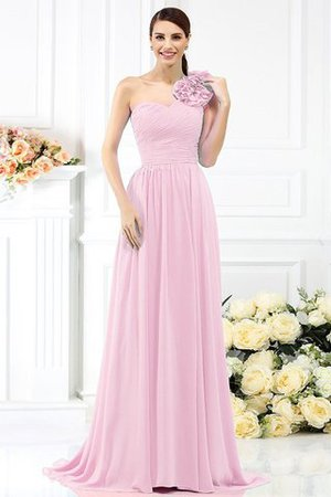 Chiffon A-Line One Shoulder Long Flowers Bridesmaid Dress - 22