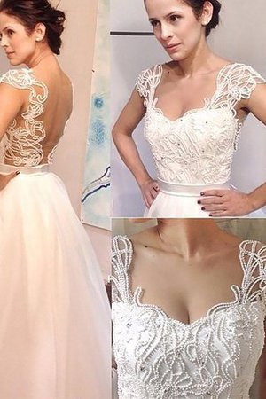 Natural Waist A-Line Sleeveless Sweetheart Wedding Dress - 1
