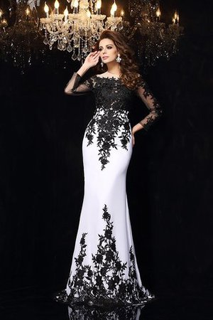 Long Sheath Zipper Up Lace Court Train Prom Dress - 3
