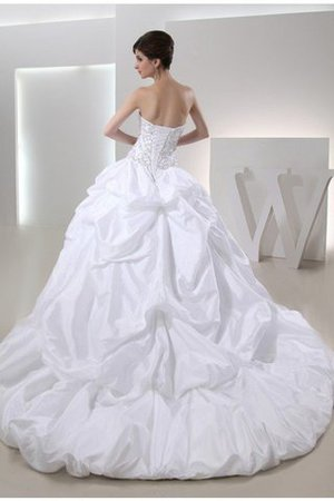 Lace-up Strapless Beading Long Cathedral Train Wedding Dress - 2