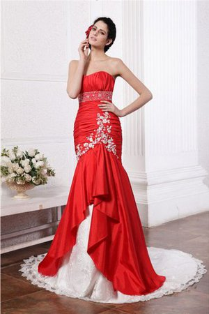Appliques Court Train Taffeta Empire Waist Long Wedding Dress - 1