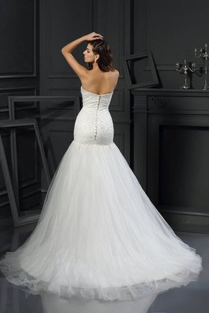 Sweetheart Sleeveless Appliques Tulle Mermaid Wedding Dress - 2