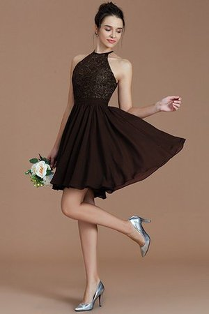 A-Line Short Halter Natural Waist Bridesmaid Dress - 13