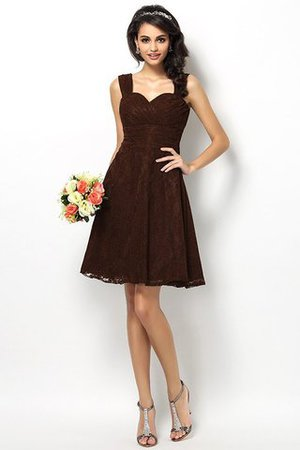 Wide Straps Short Sleeveless Natural Waist Satin Bridesmaid Dress - 7